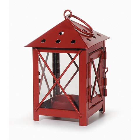 Darice 5228-12RED Metal Lantern, 3 by 3 by 5.5-Inch, Red (Decorative Lantern Red)