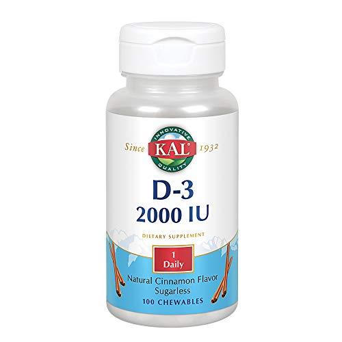 Chewable Sugarless - KAL D-3 2000 IU Sugarless Chewable Vitamin Tablets, Cinnamon, 100 Count