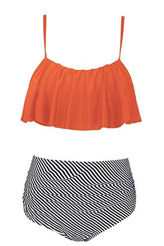 SUNNOW Women Cute Spaghetti Strap Ruffled Crop Top High Waist Bottom Bikini 2 Piece Swimsuit (L, (Ruffled Bottom)