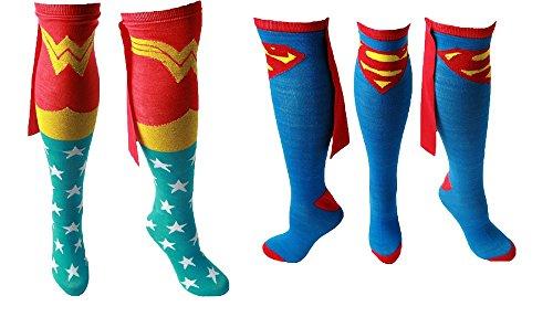 Superman & Wonder Woman Knee High Cape Socks 2 - Socks Woman Cape Wonder With