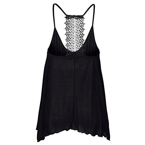JUNGEN Chaleco del estilo del cordón del chaleco de la manera que basa la camisa ocasional en verano para las mujeres Negro L