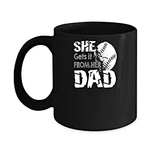 Personalized Gift For Daddy With She Gets It From Her Dad Softball Shirt On Birthday, Christmas, Father's Day Or Occasions Specials Black Coffee Mug 15oz