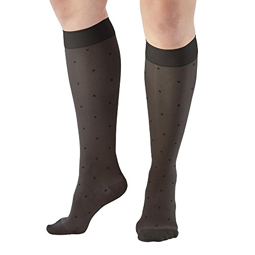 Ames Walker AW Style 14 Sheer Support Dot Pattern 15-20mmHg Moderate Compression Closed Toe Knee High Stockings Black Large – Helps revitalize your legs – comfortable fit long lasting support