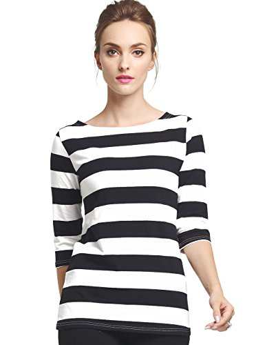 Camii Mia Women's 3/4 Sleeves Cotton Stripe T-Shirt (Large, Black White) -