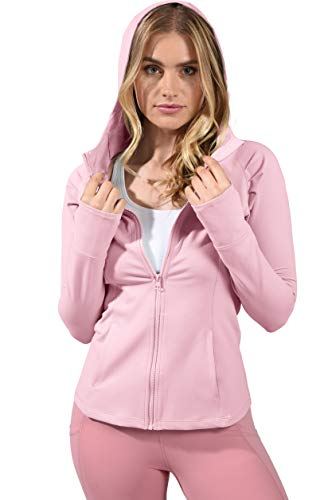 Yogalicious Slim Fit Long Sleeve Full Zip Up Hoodie Jacket - Sweet Bonbon - Medium ()