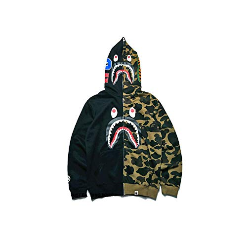 Fashion Hoodie Outdoor Sweatshirt Zipper Winter Coat Hip-Hop Funny Tops (Black-camo, XL)