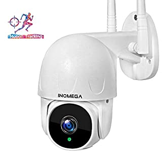 INQMEGA Outdoor PTZ Security Camera, WiFi 1080P Surveillance IP Weatherproof Camera with Pan Tilt, Two Way Audio Night Vision and Motion Tracking