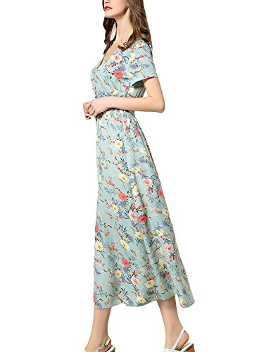 ARANEE A Sexy Women's Off Party light Floral Split Beach Shoulder Dress Green Maxi RRrqOwH