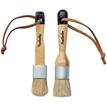 Featherline Series Pro Chalk Paint & Waxing Combination 2 Brush Set | 1 Inch Round and Flat Detail Brushes | Use with Annie Sloan, Folkart, Renaissance, Brossum, Rustoleum, Sidewalk, Roseart