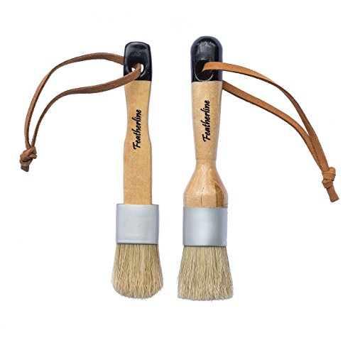 Featherline Series Pro Chalk Paint & Waxing Combination 2 Brush Set | 1 Inch Round and Flat Detail Brushes | Use with Annie Sloan, Folkart, Renaissance, Brossum, Rustoleum, Sidewalk, Roseart (Waxing Brush)