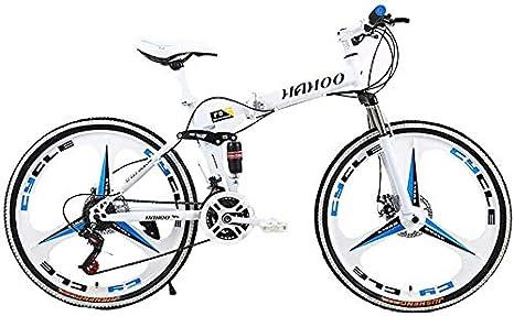 WJJH Bicicleta 26 Pulgadas de Bicicletas de montaña Plegable para Hombres y Mujeres, de Peso Ligero 21 Velocidad del Camino de MTB Bicicleta con Doble Freno de Disco,Blanco: Amazon.es: Deportes y aire