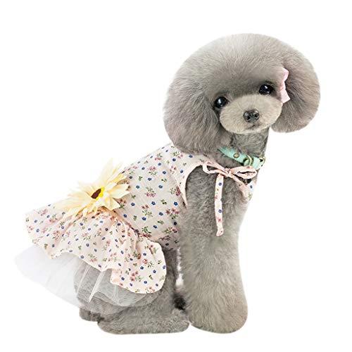 callm Pet Dress Spring and Summer Sun Flower Sling Skirt Dress Dog Costumes Pet -