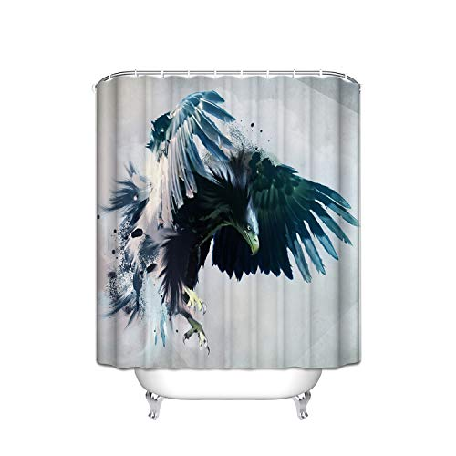 Giraffe Flower Shower Blue (Wildlife Birds Ferocious Blue Black Vulture Flying Sky Vertical Stripes Shower Curtain With Hooks (Treated To Resist Deterioration By Mildew) - 36 X 72 Inches)