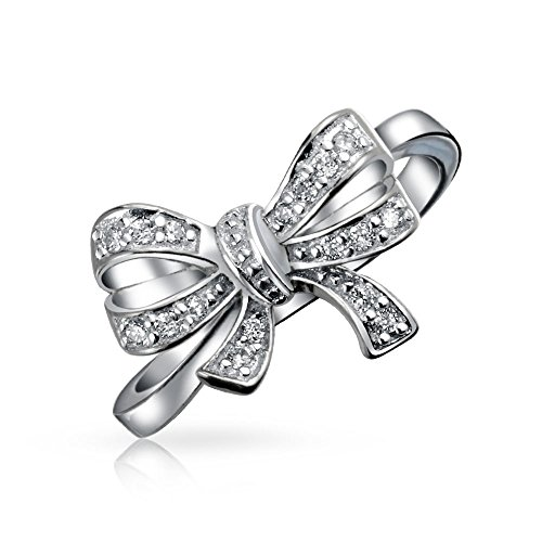 Vintage Style Bridal Cubic Zirconia Pave CZ Statement Ribbon Bow Ring For Teen For Women 925 Sterling Silver ()