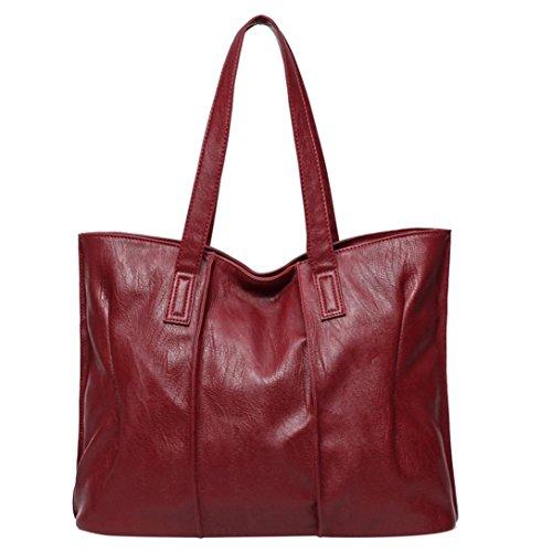 Bolsos Para mujer, RETUROM Bolso de hombro del bolso de cuero de las nuevas mujeres de la manera Rojo