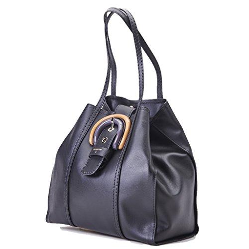 Borsa PATRIZIA PEPE shopping con maxi fibbia in plexiglass larg. 37 alt. 33 p18, luce manici 25cm nero pelle
