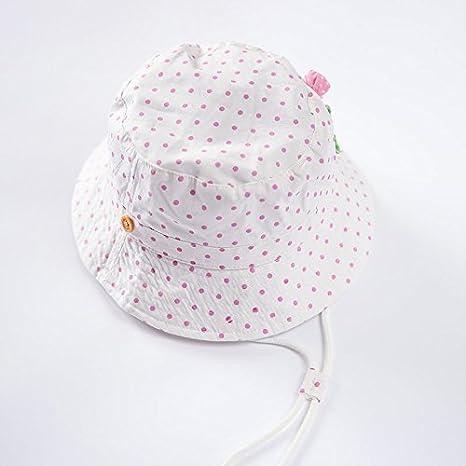 5615a2933481 Bigood Chapeau Pêche Bébé Fille Garçon Coton Soleil Plage Bonnet Imprimé  Pois Mignon  Amazon.fr  Vêtements et accessoires