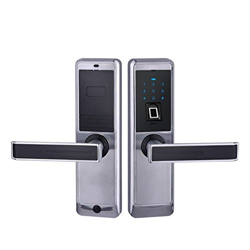 HARFO Electronic Touchscreen keyless Fingerprint Door Lock, High-sensitivity & High-Recognition Rate, Perfect for Office & Home (silver) [Upgraded Version] HARFO