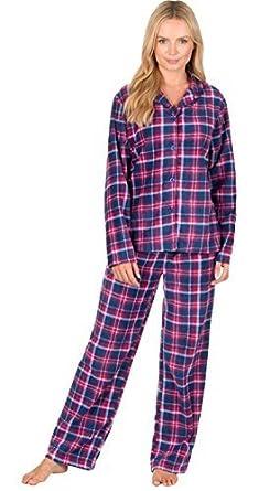 a61b480297 Best Deals Direct Ladies Check Print Long Sleeve Fleece Pyjamas Thermal  Lounge Wear (Small (