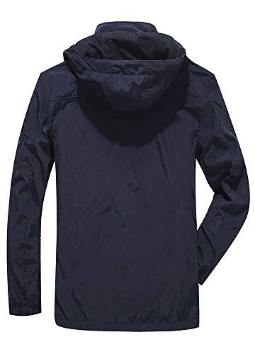 Yozai Jacket for Men, Men's Outdoor Sports Hooded Windproof Jacket Waterproof Rain Coat Black L by Yozai (Image #1)