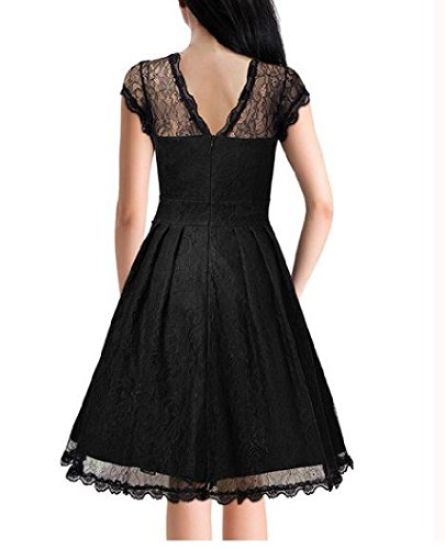 Lace Coolred Waist Black Dress Trim Accept Party Mini Big Hem Elegant Women r7wqRYr