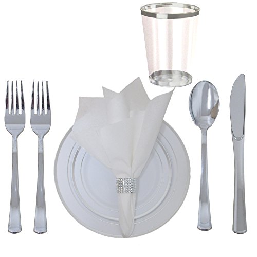 360 Piece Disposable Plastic Wedding Tableware Dinnerware Set. Silver Rimmed Dinner and Dessert Plates, Silver Cutlery Set, Silver Rimmed Tumblers, Linen Feel Napkins With Rhinestone Napkin Rings.