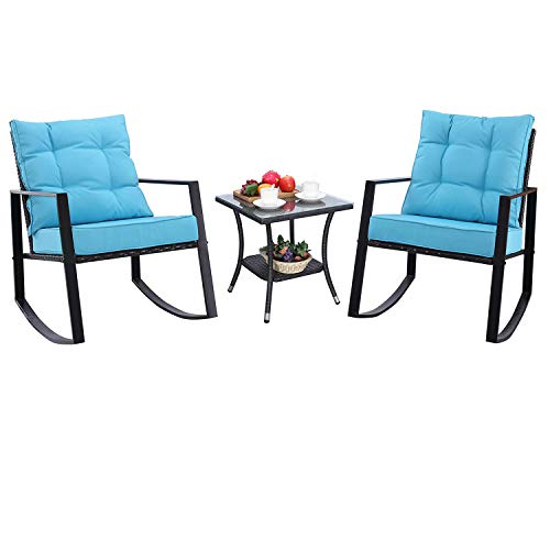 Do4U Outdoor Rocking Chair Set 3-Piece Patio Bistro Set- Cushioned Brown PE Wicker Rattan Chairs with Coffee Table Porch, Backyard, Pool Garden 982-EXP-TRQ