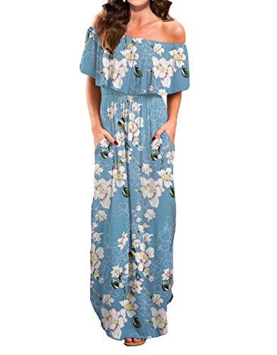 VERABENDI Women Maxi Summer Off Shoulder Beach Long Floral Dress Light Blue S