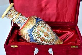 インド ラジャスターン 花瓶 手作り 大理石 B07SKGBLF3