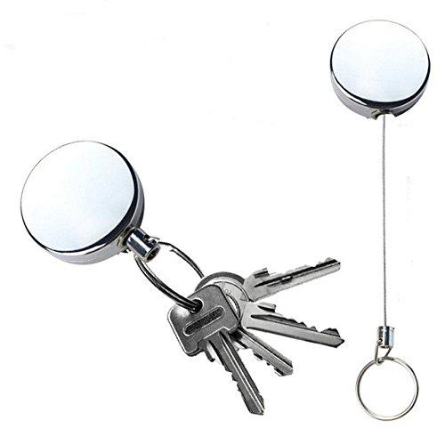 4fbe9aec9e8b 2 porte-clés à bobine rétractable IceBlueOr robustes, fermeture éclair avec  fil d acier de 63 ...