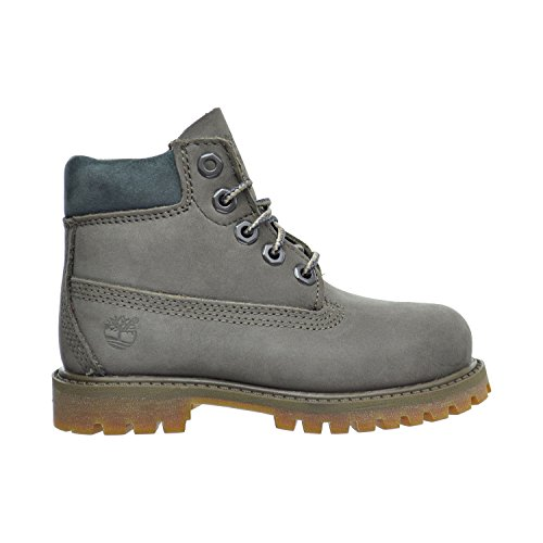 Timberland 6 Inch Premium Waterproof Toddler's Boots Dark Grey Nubuck/Brown tb0a1bbo (12 M US) ()