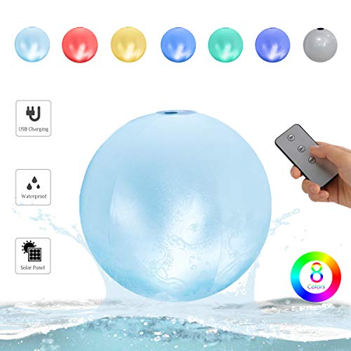 Gimify Floating Pool Lights Inflatable LED Light Up Ball USB Solar Charging w/Remote, 8 Colors 3 Lights Effects, Waterproof IPX7 Globe Night Light for Swimming Pool Garden Party Bedroom Decor (60cm)