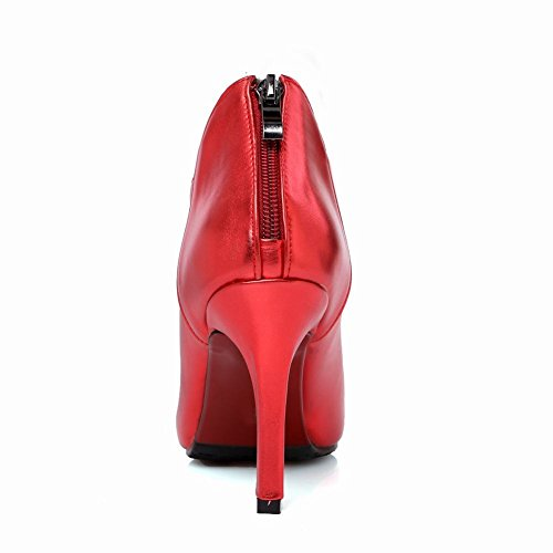 Latasa Womens Sexy Beaded Ankle-strap Pointed-toe High Heel Ankle-high Dress Boots, Dress Shoes Red