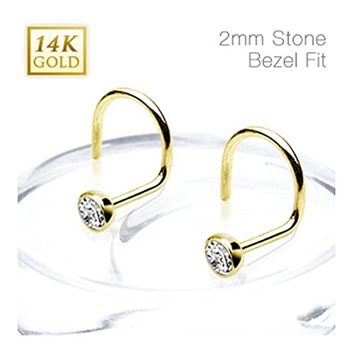 14Kt Solid Yellow Gold Nose Screw Ring with 2mm Bezel