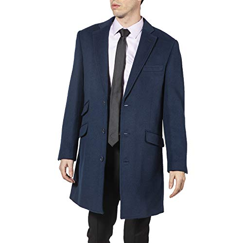 - Enzo Men's E54879-19 Single Breasted Wool Blend Mid-Length Car Coat - Royal Blue - 40R