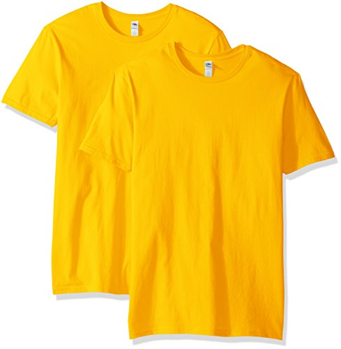 Fruit of the Loom Men's Crew T-Shirt (2 Pack), Gold, Small