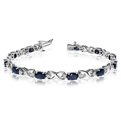 Colored Sapphire Diamond Bracelet - Oval Sapphire and Diamond XOXO Link Bracelet 14k White Gold (7.00ctw)