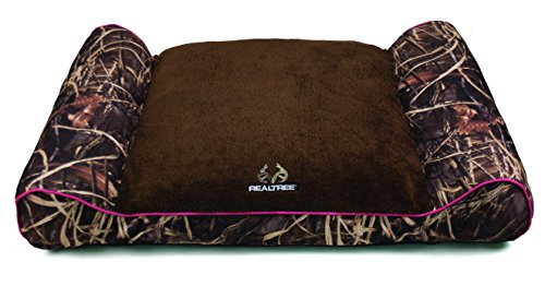 Dallas CL4830-160.2 Realtree Giant Camo Pet Bed with Bolstered Ends, Taupe with Pink Piping, 48