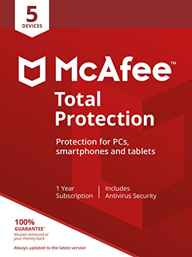 McAfee Total Protection 2020 | 5 Devices | PC/Mac/Android/Smartphones | Activation code by post|5 Devices|5|One time|PC…