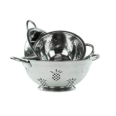 3 Pcs Stainless Steel Colander Set - High Qulaity Strainer Set (1 Qt, 3 Qt & 5 Qt)