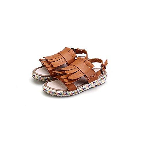 Zapatos - Sandalias Mujer - Piel sintetica - Plano tacon - Parte delantera abierta zapato Marron