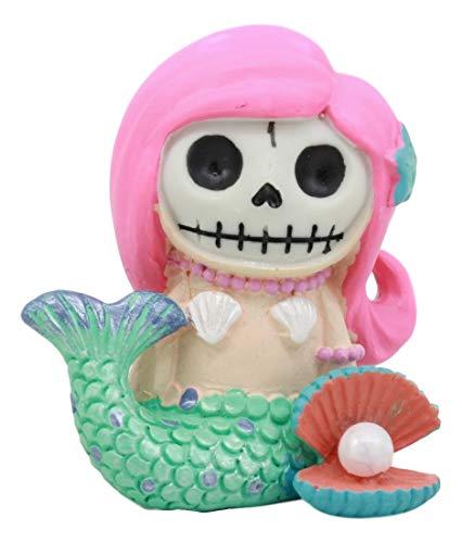 Ebros Little Mermaid Furrybones Ariel Figurine Small 2.75 Inch Tall Furry Bones Skeleton Decor Statue -