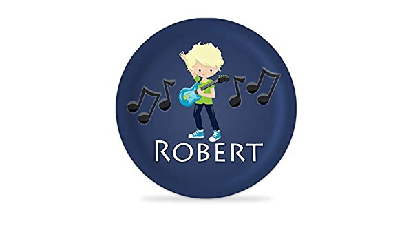 Rock Band Plate Blue Rock Star Girl Melamine Personalized Name Plate