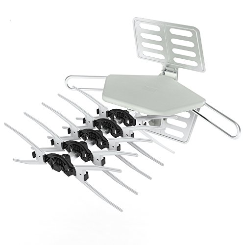 Outdoor HDTV Antenna, Philex 150 Miles Long Range Amplified Digital Antenna 360 Degree Rotation Infrared Remote Control