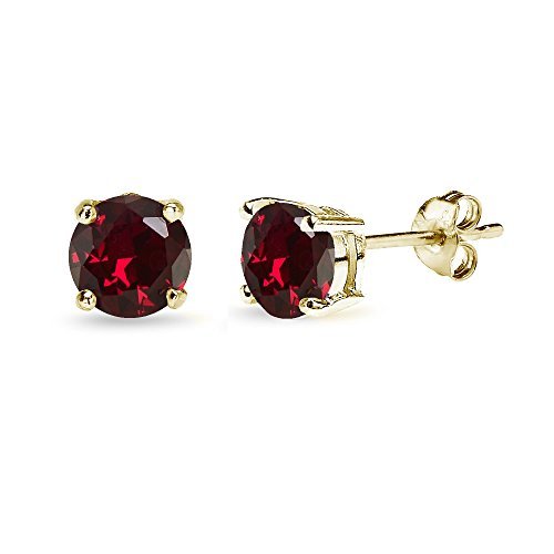 Yellow Gold Flashed Sterling Silver Created Ruby 6mm Round-Cut Solitaire Stud Earrings (Mens Ruby)