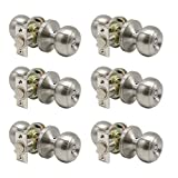 6 Pack Probrico Privacy Round Door Knobs Keyless Satin Nickel for Storage Room Bedroom Bathroom Stainless Steel Material with 2-3/8 Inch or 2-3/4 Inch Adjustable Latch Backset
