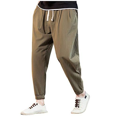 Mens Linen Cotton Joggers Loose Vintage Beach Comfort Casual Lightweight Yoga Beach Pants Army Green