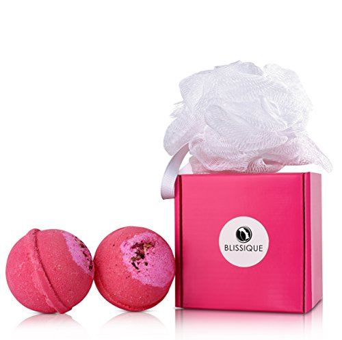 Bath Bombs Pink Glitter Gift Set - 2 Ultra Lush Spa Fizzies with Loofah - Organic Natural Essential Oil Shea Butter Handmade in (Day Of The Dead Female Makeup Kit)
