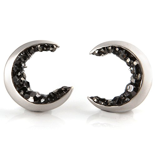 Laonato Crescent Moon and Black CZ Earrings (White Gold)