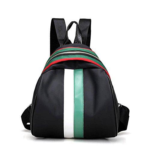 Espeedy Mujeres mochila Oxford empalme impermeable color franja bandolera casual señoras niñas Escuela viajes grandes capacidades bolsas verde y blanco